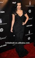Вечернее платье Kim Kardashian Black Beaded Lace Evening Gown Celebrity Dress custom made Golden Globes Party XF94