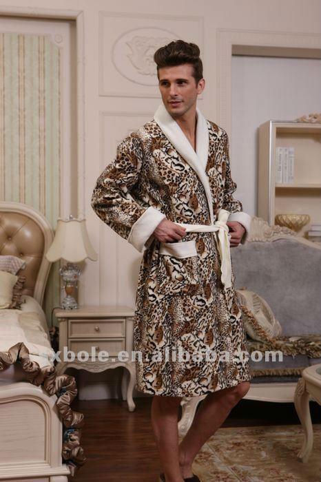 Two Wings Printed Leopard Polar Fleece Dressing Gown Robe Men Pyjama ...