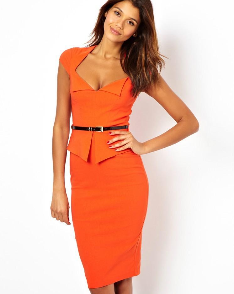 Dropshipping Fashion 2014 Summer Women Elegant V-neck Peplum OL Career Back Zipper Knee-Length Party Casual Dress XS.M.L.XL.XXL