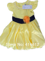 QZ-253,Free Shipping! 2013 new arrive baby full dress girl pearl collar princess dress summer kids garment Wholesale And Retail
