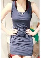 Женский топ Lady Scoop Neck Strap Tank Halter Bottoming Shirt Long Waistcoat Candy Vest #A822