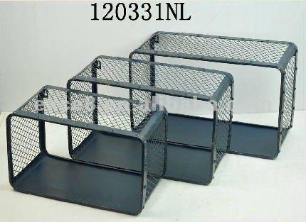 120331nl s 3 metal wall rack metal shelf rect storage for Cube de rangement mural ikea