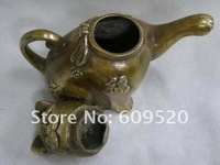 Плоская фляжка chinese brass copper carving luck words CAT teapot