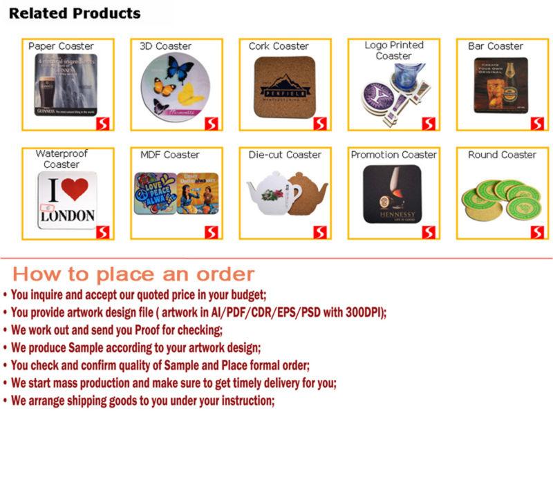 Promitonal and Customized Imprinted Cork Coasters Customized Shape
