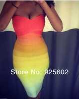 новые лучшие качества Радуга бандаж bodycon celeb повязку платье праздник towie xs, m, l платье