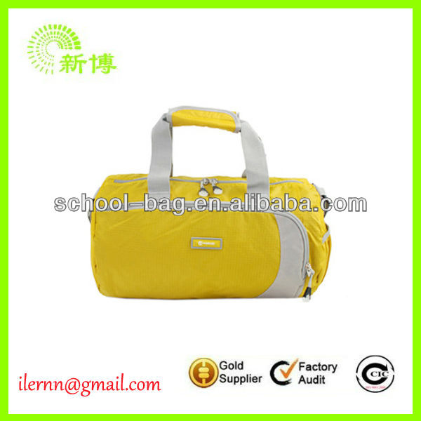 Promotive PVC PU sports brand names men leather travel bag