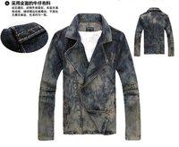 Мужская ветровка Spring new Korean Slim oblique zipper denim shirt do men fall and winter of old denim jacket denim jacket discount