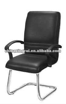 the brown office chair without wheels (with armrest,synthetic leather,steel tubes)