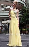 Женское платье Retail 2012 Hot Sale One Shoulder Asymmetric Neck Party Yellow Dress 30567