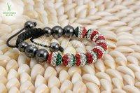 Holiday Sale Shamballa Crystal Bracelet Italy Flag 10mm Micro Pave CZ Disco Ball Bead Shamabala Christmas Gift Jewelry LHA84-2