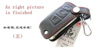 Z82 Mazda genuine leather Protective Cover with Red thread for REMOTE 2 buttons intelligent car KEY