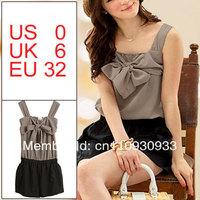 Women Coffee Color Black Patchwork Elastic Waist Sleeveless Chiffon Short Jumpsuit