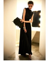 2013HOT SALE Women's Upgrade Turtleneck Slim Waist Formal Vintage Floor Length Dress 4 COLORS And Sizes Free Drop Shipping WD073