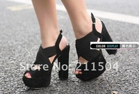 Туфли на высоком каблуке Hot selling Platform cross-strap assorted Fashion Women's buckle peep toe High block Heels shoes sandals store