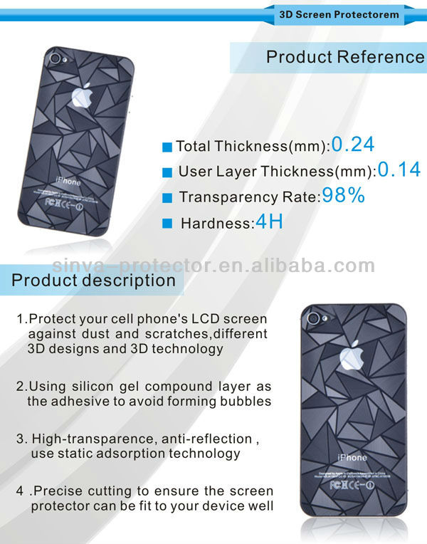 Top Quality ! Best Price High Clear 3D Mirror Screen Protector for Iphone 4 5 Ipad 5 Samsung Galaxy Sili Mini