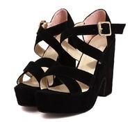 Женские сандалии black fashion ladies ankle strap pumps thick high heels platform sandals for women summer shoes woman belt buckle SXX33058