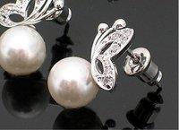Min Order 12$ Fashion Jewelry Cute Tassel Fima Pearl Stud Earrings Butterfly Pearl Earring ES0004