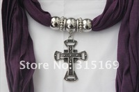 Женские шарфы, Шапки, Комплекты 12pcs/lot, TLW1207261, Purple Jewelry Cross Pendant 100% Polyester, 160*40, Handmade New Classic Women Scarves