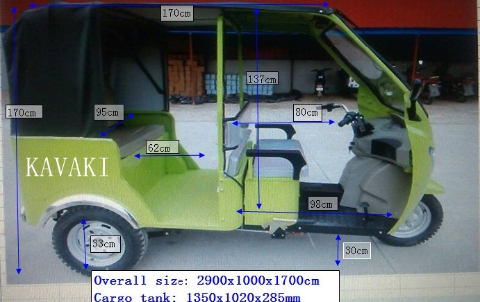 1000w with 10 or 24 tubes controller for Southeast Asia market electric tricycle rickshaw, tuk tuk, three wheel for 5 passenger