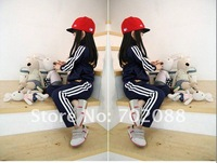 Free shipping 20sets New Children suit  Movement suit with Striped pattern Grils sport suits for spring or autumn Size:90-130