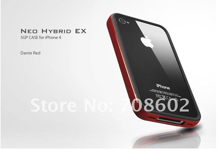 Free shipping SGP NEO Hybrid EX For iPhone 4 4G SGP Bumper case for Iphone4 cover twin case for iphone4g bumper