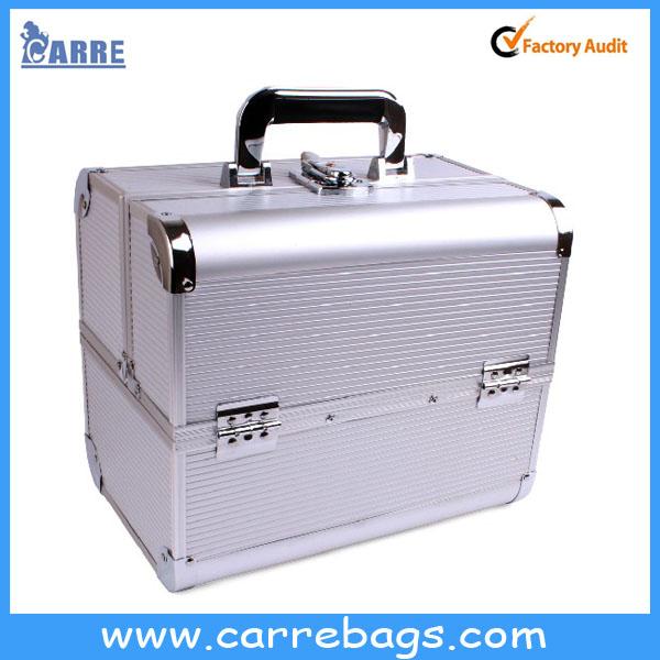 professional aluminum makeup train case wholesale makeup case