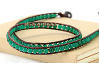 Браслет из нержавеющей стали Top Quality Green Jade 3X Leather Wrap Bracelet Genuine Leather Cuff Bracelets Semi Precious Stone Bracelets