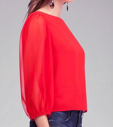 Women'S Red Chiffon Blouse 15