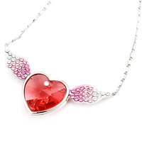 holiday sale Artilady 18k platinum plated pink sweet heart with angel wings necklace love heart  crystal necklace 2 colors