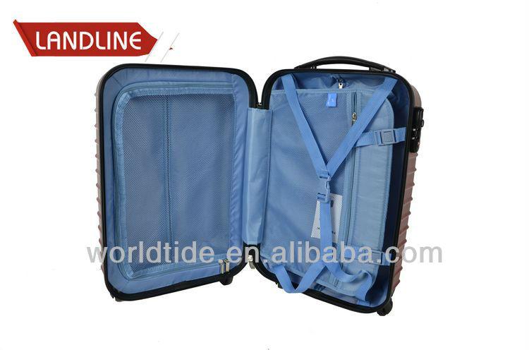 Plating Lacquer Burgundy Horizontal Stripe Girls Trolley Travel Bag