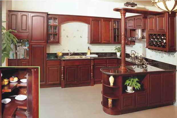 Luxe cuisine en bois massif armoires dj k016 meubles de - Meuble de cuisine en bois rouge ...