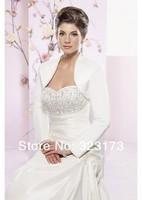 Best Seller Long Sleeves White Satin Wedding Bridal Jackets Shawl Shrug