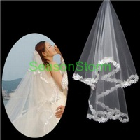 Min Order $20 (mixed order) Retail Euro-Style White Color Voile Lace Wedding Bride Veil  (SJ-06)