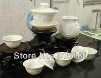 On Sale! Jade Porcelain Relief Dragon Tea Service Ceramic Utensil, Chinese Tea Set Free Shipping