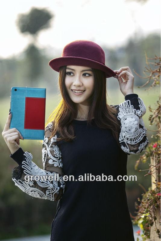Three colours splicing leather case for ipad mini