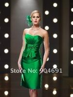 Платье для матери невесты Strapless Blue Green Coffee Purple Brown Satin Knee Length Sheath Mother of The Bride Dress Mid Sleeve Jacket Evening Prom Dress
