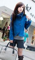 Корейский моды женщин тонкая куртка стоять воротник леди шерсти blend пальто 5 цветов i066