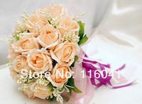 Свадебный букет peachpuff color Rose flower with ribbon Wedding bridal throw bouquet Bridal Bouquet Bridesmaid bouquet