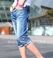 Мужские джинсы 2012! men's jeans, men's casual pants, fashion short blue jeans 2pcs/lot