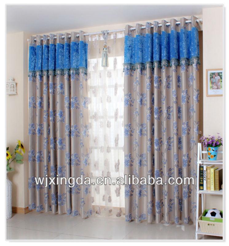 print shiny window curtain fabric