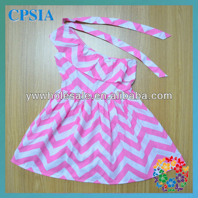Sweet candy chevron rainbow dress one shoulder modle show baby Dresses