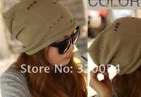 1pcs, 2012 Winter new rivet cotton wool hat, fashion men and women khaki knitted cap, Christmas gift, free shipping