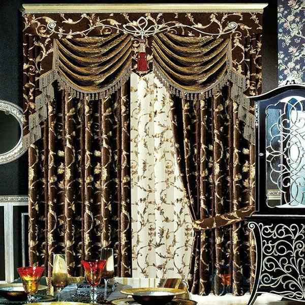 Hot sale royal model fancy simple curtain design crest for Crest home designs curtains