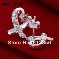 Серьги-гвоздики GSSPCE143, high quality silver plated gem-set ribbon heart earrings date jewelry fashion jewelry, jewelry