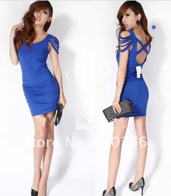 Wholesale Free Shipping New Arrival Milk silk tassel sleeve dress sexy dress evening dressW-0538 (4).jpg