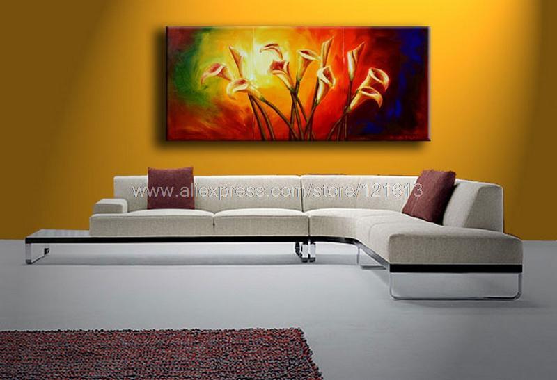 Lírios de Calla pintura a óleo sobre tela sala de jantar decoração