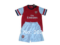 kids gift! 12/13 psg home blue thai quality kids soccer football jersey+shorts kits, size:16-28