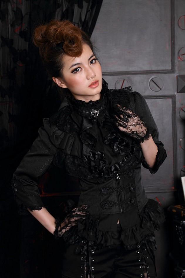 RQ-bl бренда Готическая одежда женская готическая полупальто u-образным вырезом оборками марочных кнопки пальто 21091
