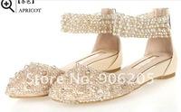 free shipping FANP leather beaded sandals rhinestone sandals Roman wedge sandals