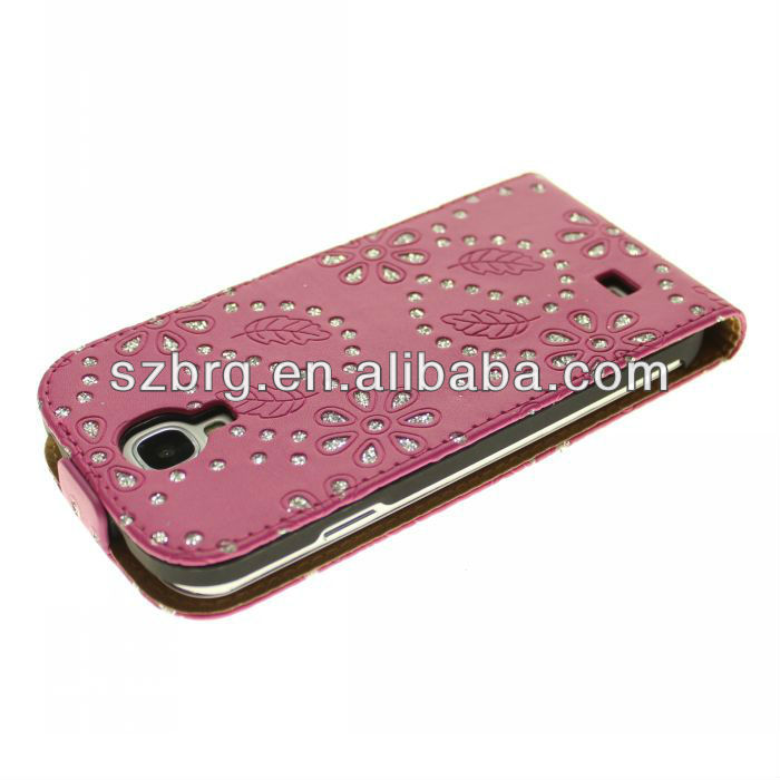 Girl flip leather case for samsung galaxy s4 s iv i9500 pink